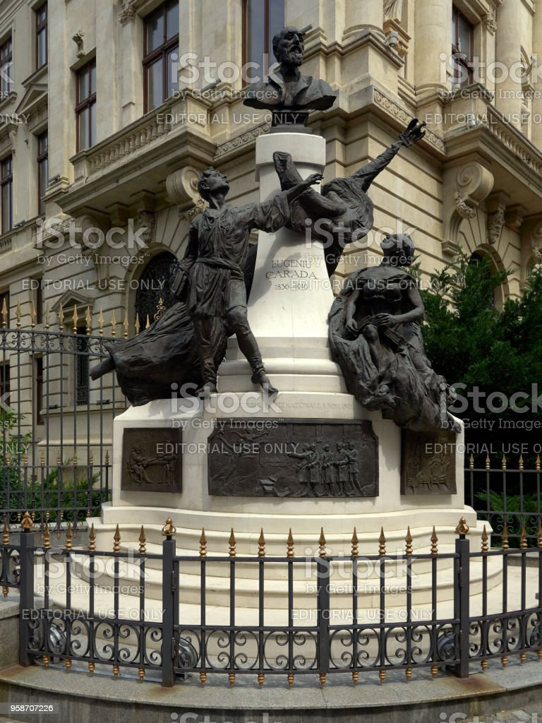 Monument to Eugeniu Carada in historical center Lipscani Street in Bucharest stock photo