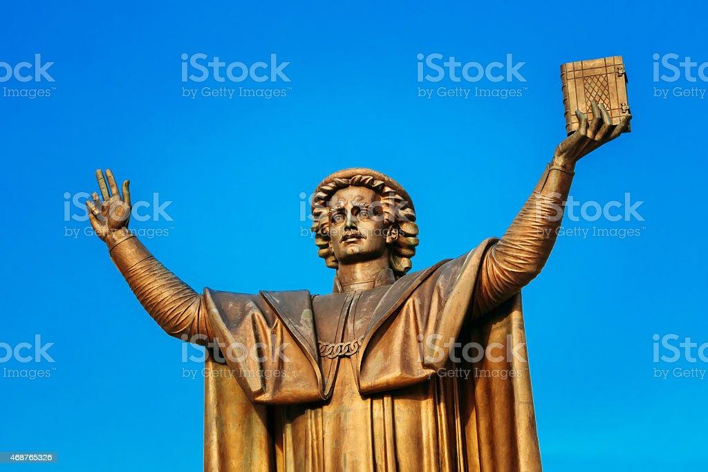 Monument to Francisk Skarina in Minsk stock photo