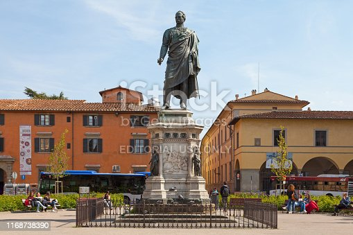 Florence, Italy - April 01 2019: The Monument to General Manfredo Fanti commemorates General Manfredo Fanti (1806-1865), a soldier and leader in battles for Italian independence and unification. The statue by Pio Fedi, was erected in 1873 on the Piazza San Marco in central Florence.