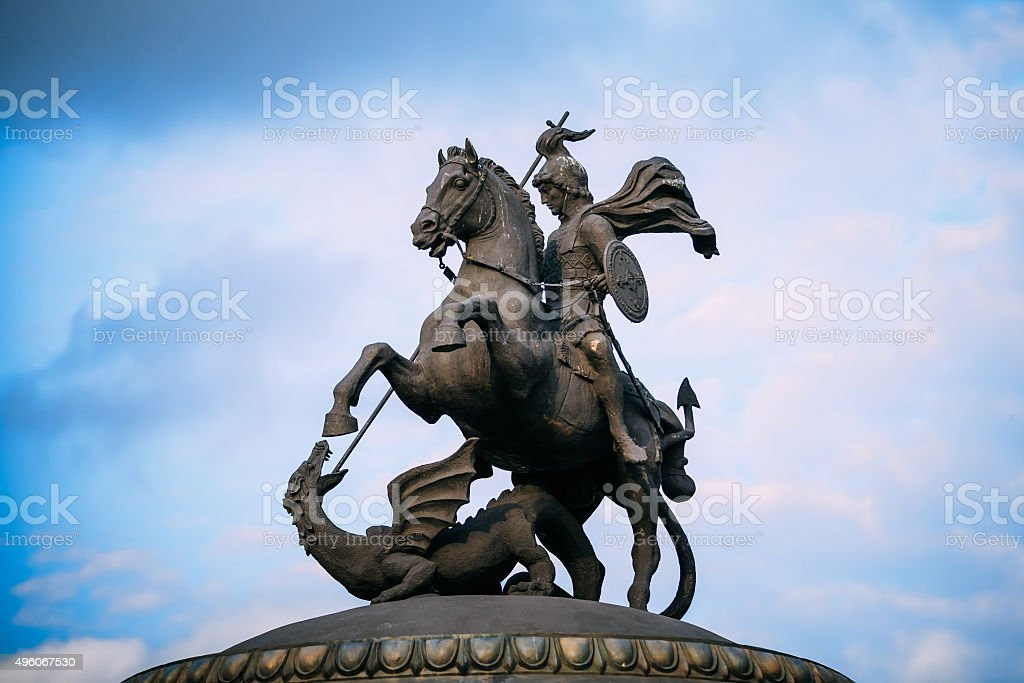 Monument to George on Manezh Square in Moscow, Russia stock photo