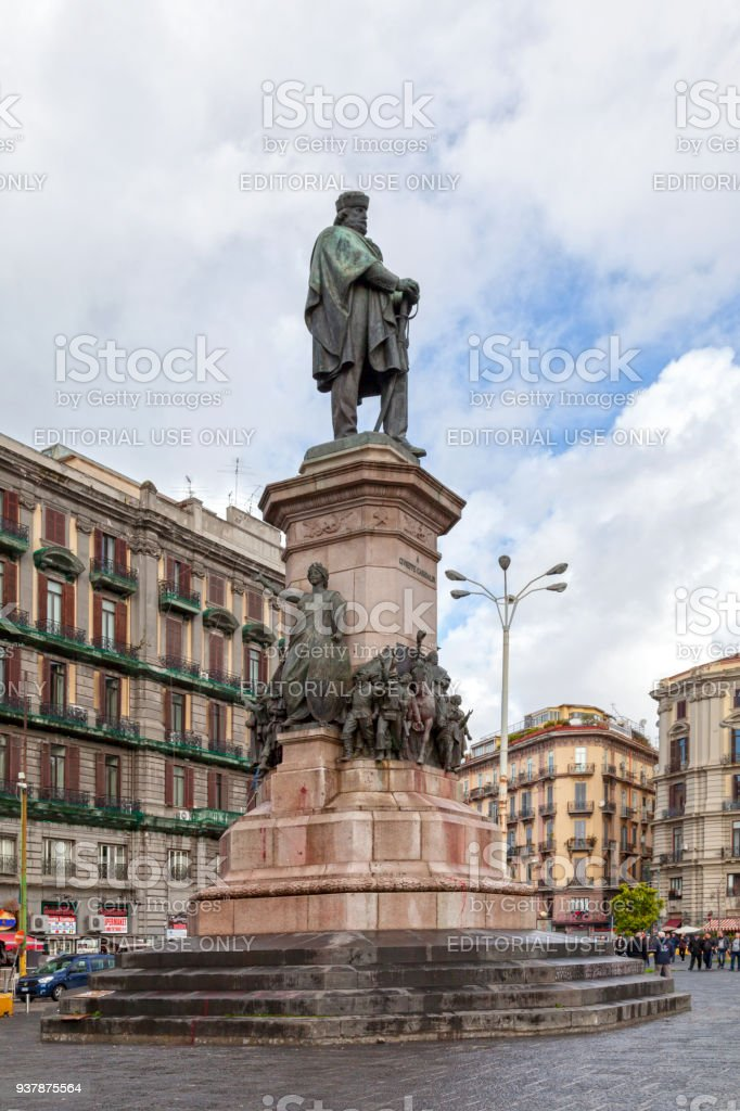 Monument to Giuseppe Garibaldi in Naples stock photo