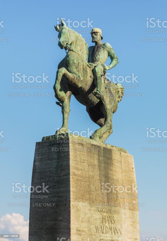 Monument to Hans Waldmann in Zurich, Switzerland stock photo