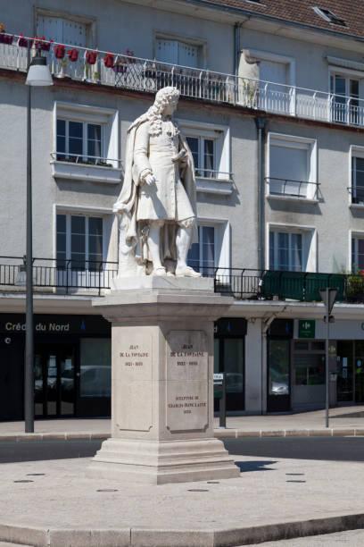 Monument to Jean de La Fontaine in Château-Thierry stock photo