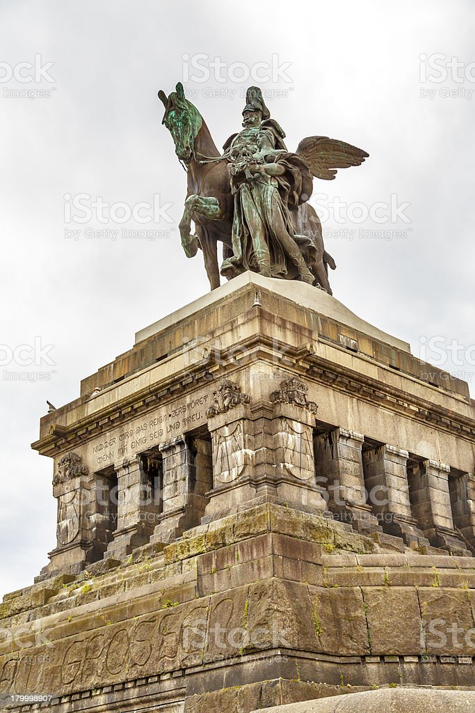 Monument to Kaiser Wilhelm I Emperor William stock photo