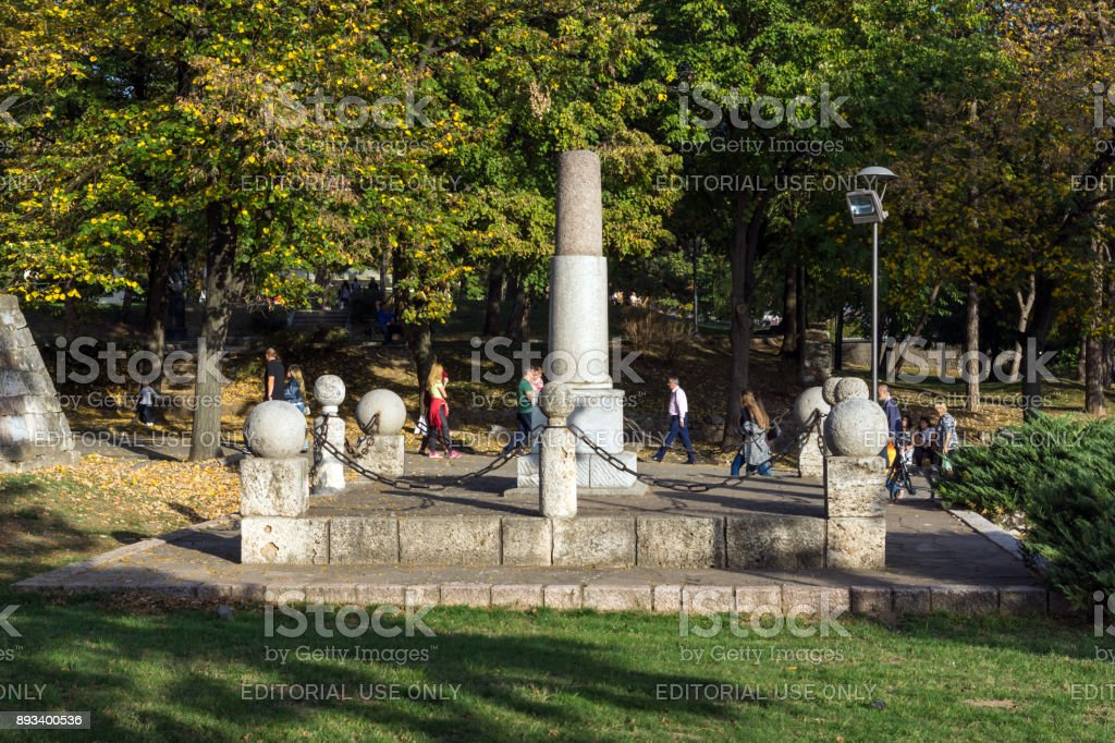 Monument to Kniaz Milan in Fortress of City of Nis, Serbia stock photo