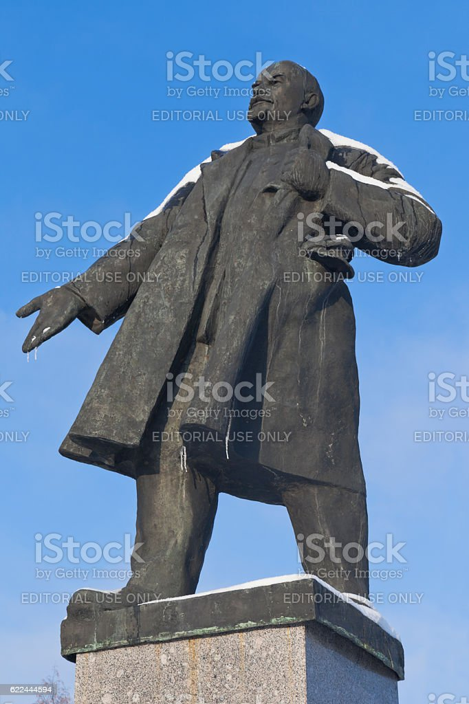 Monument to Lenin on a background of the blue sky stock photo