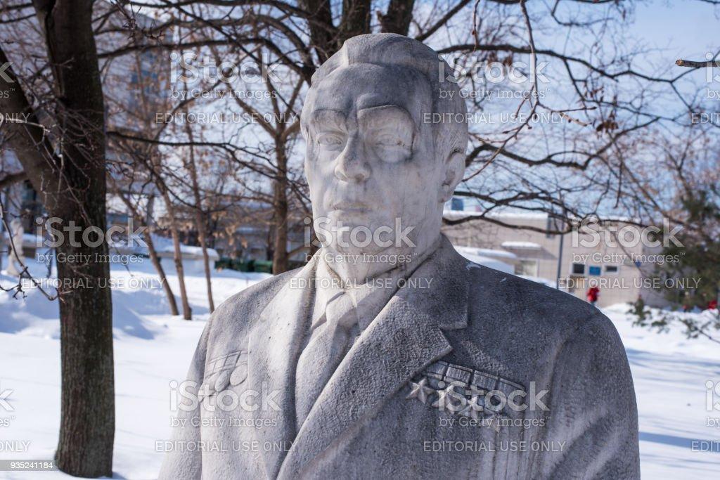 monument to Leonid Brezhnev led the Soviet Union stock photo