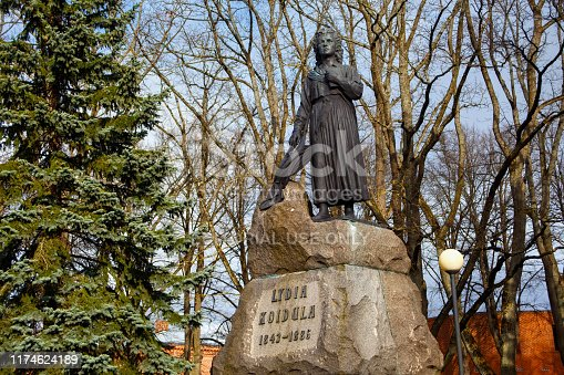 PARNU, ESTONIA - MAY 02, 2015: Monument to Lydia Koidula in Parnu created by Amandus Adamson in 1929. Koidula (1843-1886) was an famous Estonian poet.