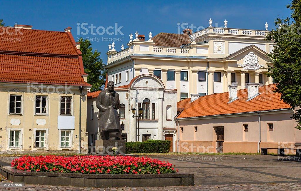 Monument to Maironis in Kaunas, Lithuania stock photo