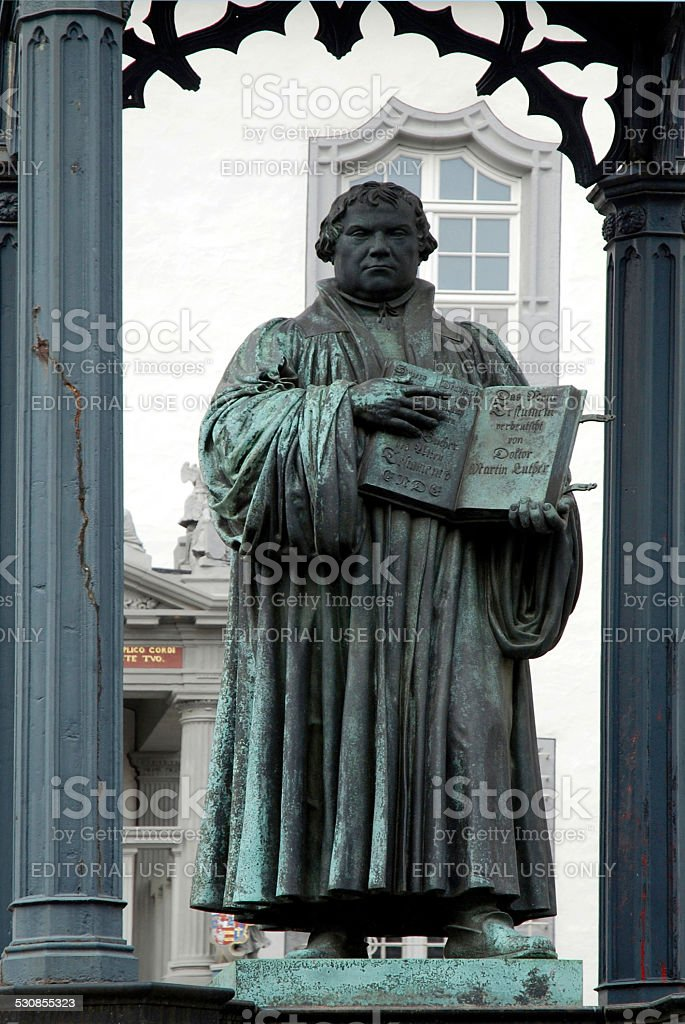 Monument to Martin Luther in Wittenberg stock photo
