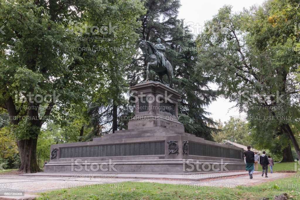 Monument to Napoleon III executed sculptor Francesco Barzaghi in Milan stock photo