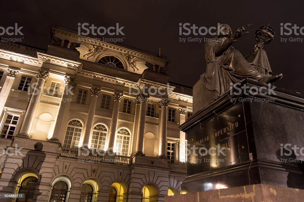 Monument to Nicolaus Copernicus and Staszic Palace stock photo