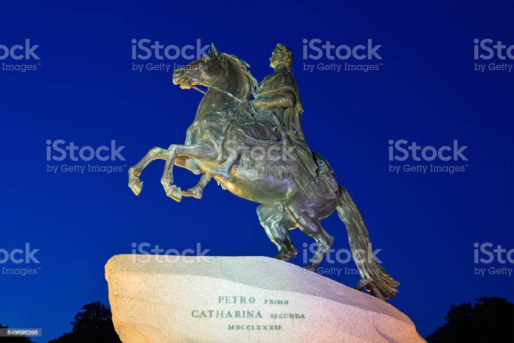 Monument to Peter 1, the bronze horseman at night illuminated stock photo