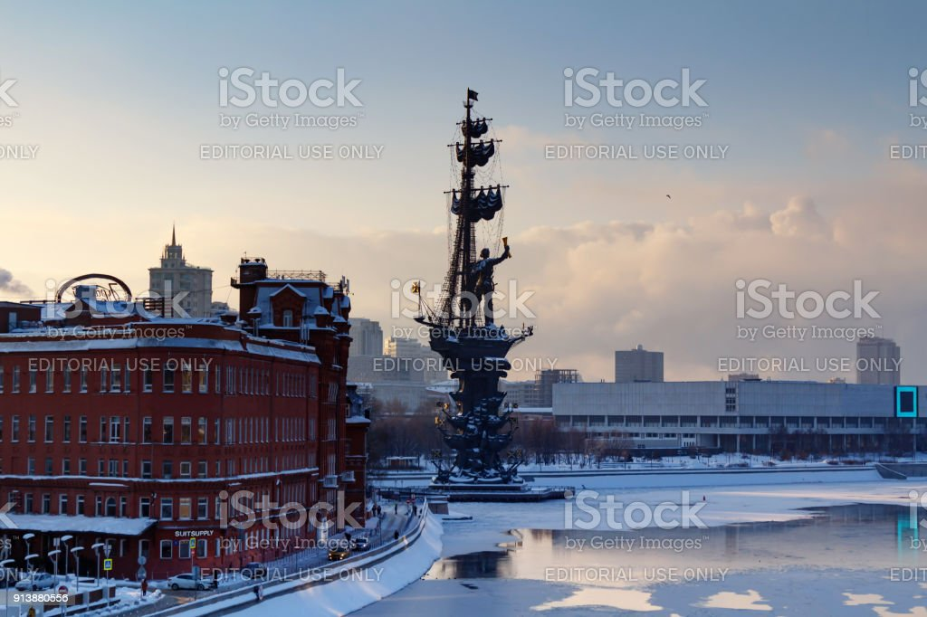 Monument to Peter I on the Moskva River in winter. View from the Patriarshiy Bridge stock photo