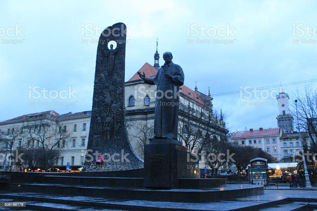 Monument to poet Taras Shevchenko in Lviv stock photo