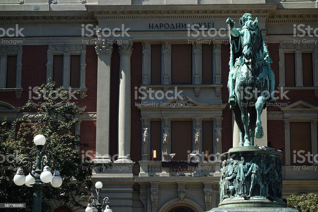 Monument to prince Mihailo stock photo