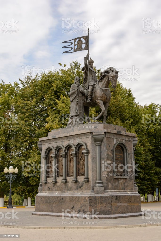 Monument to Prince Vladimir and Saint Fedor in the city of Vladimir, Russia stock photo