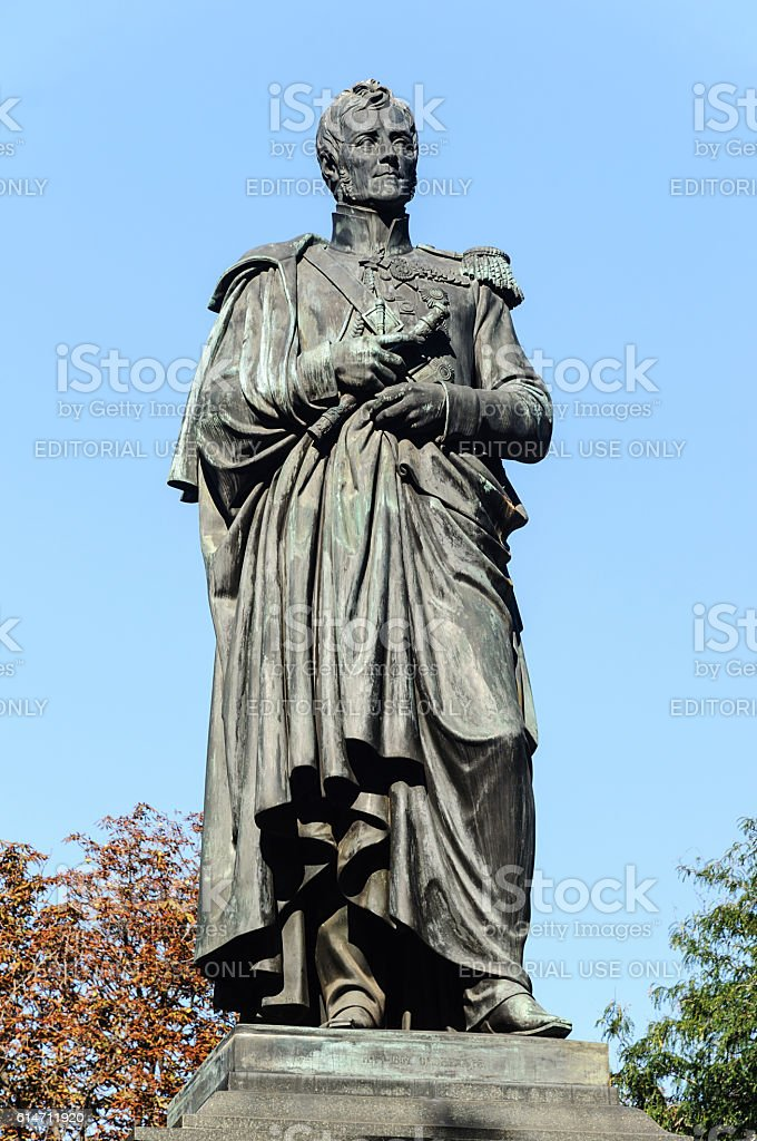 Monument to Prince Vorontsov in Odessa stock photo
