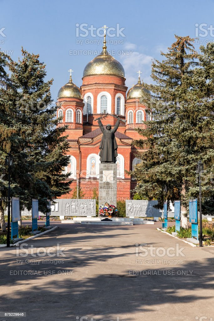 Monument to soldiers liberating the Second World War in the city of Pugachev. Russia stock photo