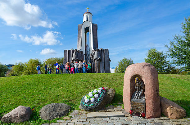 Monument to soldiers-internationalists on Island of Tears, Minsk, Belarus stock photo