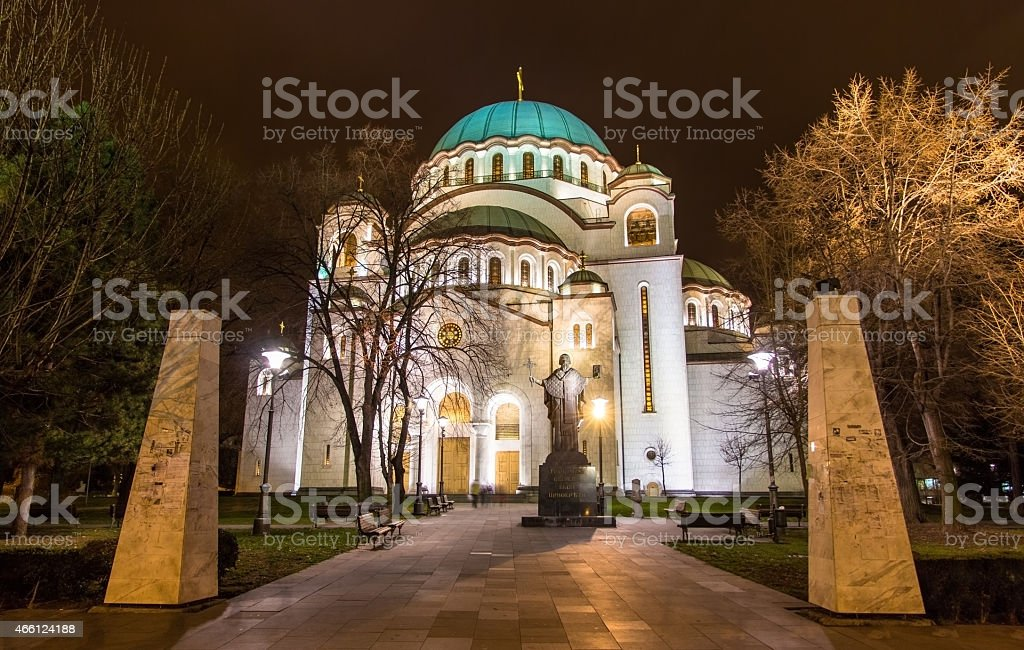 Monument to St. Sava in front of the chuch stock photo