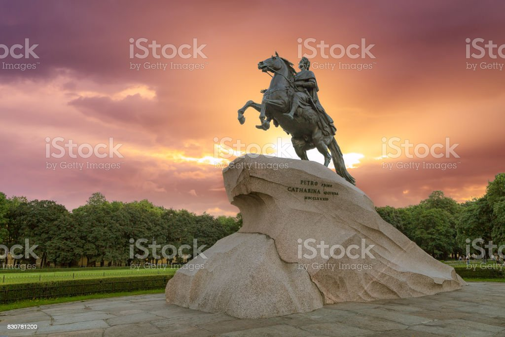 Monument to the Bronze Horseman in St. Petersburg stock photo