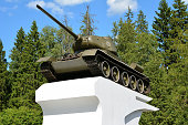 Monument to the designer of the tank T-34 Koshkin Mikhail Ilyich. Russia, Yaroslavl region, M8 highway, June 26, 2018