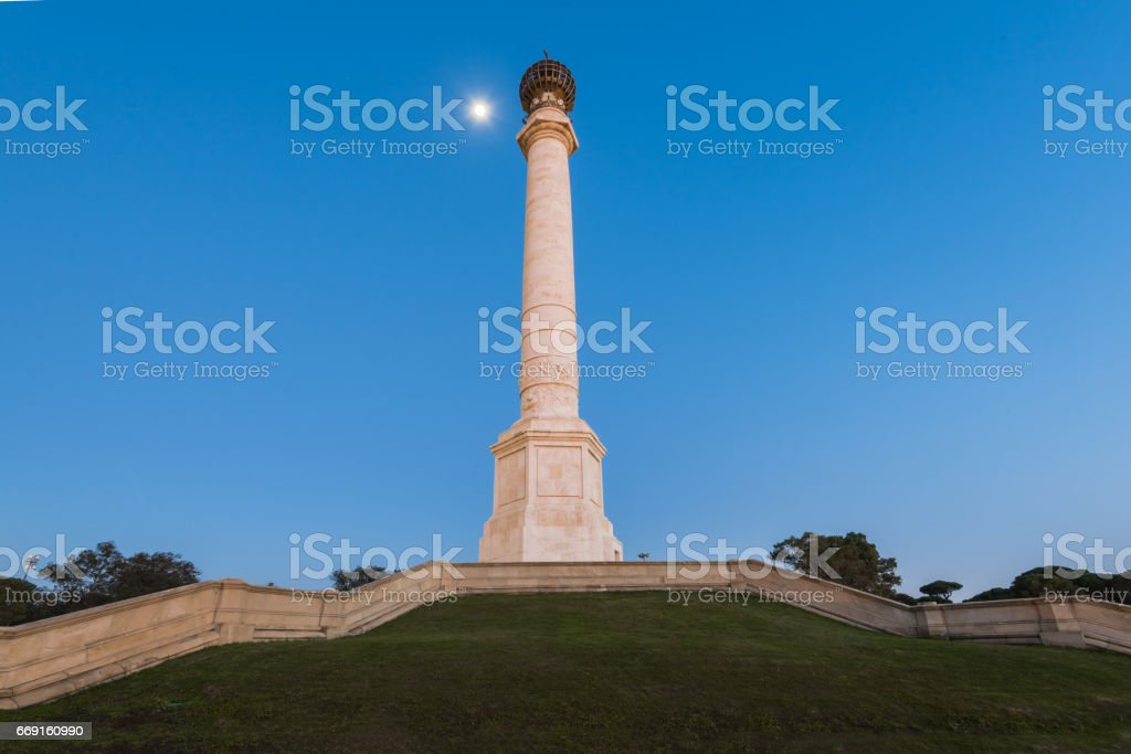 Monument to the Discoverers, 400th Anniversary Column, Palos Frontera,Spain stock photo