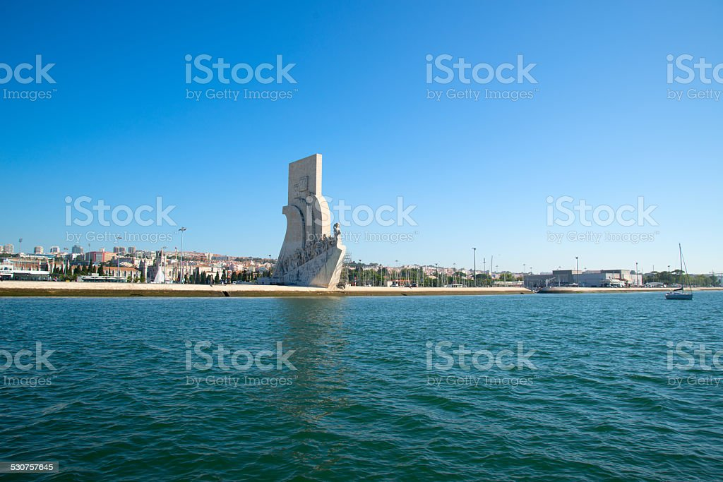 View of the Monument to the Discoveries and Lisbon from the Tagus...