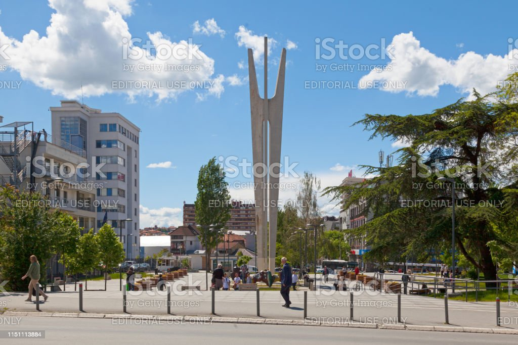 Monument to the fallen fighters in Pristina stock photo