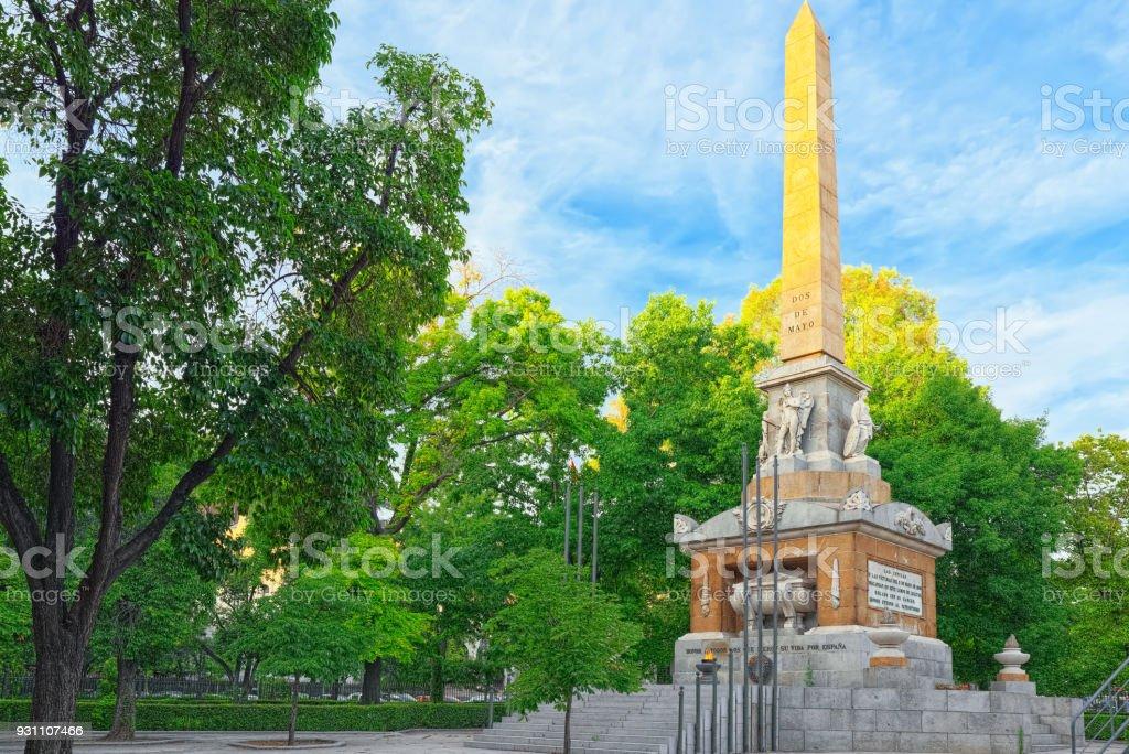 Fallen için halk Dikilitaş (Obelisco) veya May.Madrid ikinci kahramanları Anıtı olarak bilinen İspanya, anıt. - Royalty-free 25 sent Stok görsel
