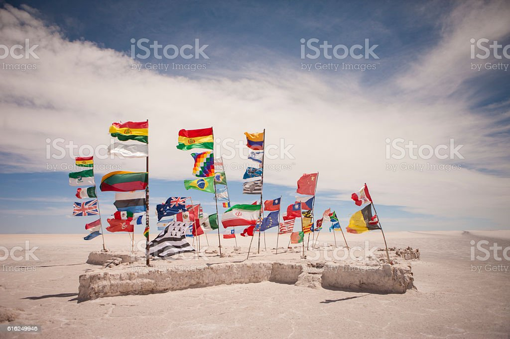 monument to the flags of the world, Uyuni Salt Flats stock photo