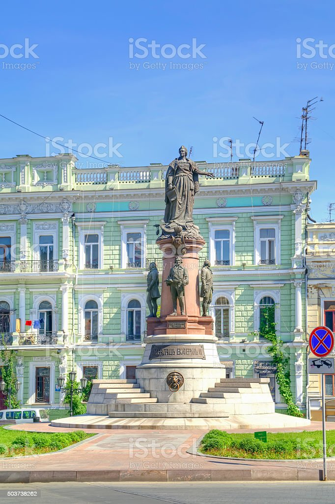 Monument to the founders of Odessa stock photo