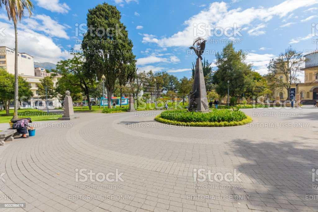 Monument to the French Geodetic Missions Almeda Park Quito stock photo