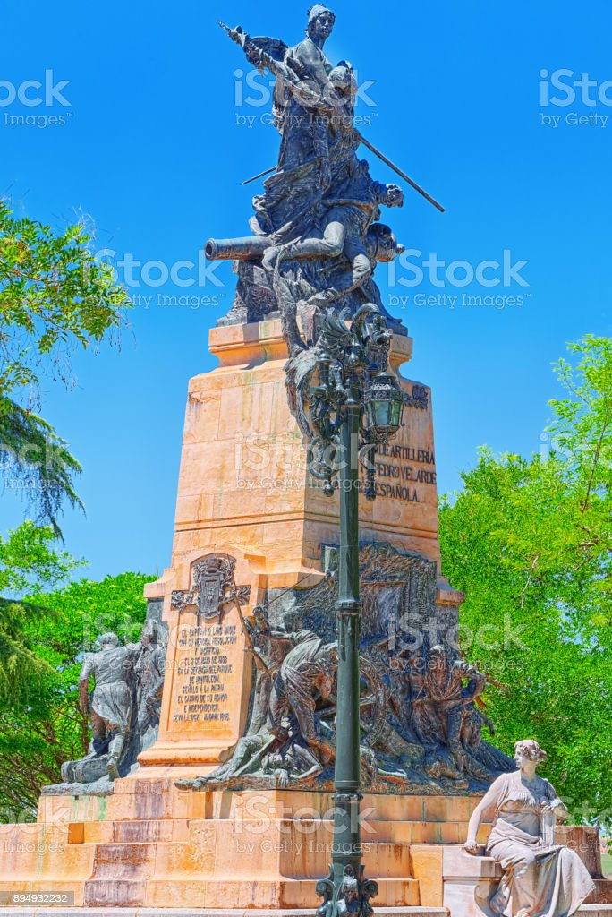 Monument to the Heroes of May 2 on Square The Queen Victoria Square Eugenia  in Segovia, Spain. stock photo