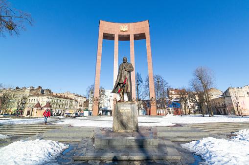 LVIV, UKRAINE - Feb 14, 2017: Monument to the leader of the Ukrainian nationalist and independence movement Stepan Bandera, Lviv, Ukraine