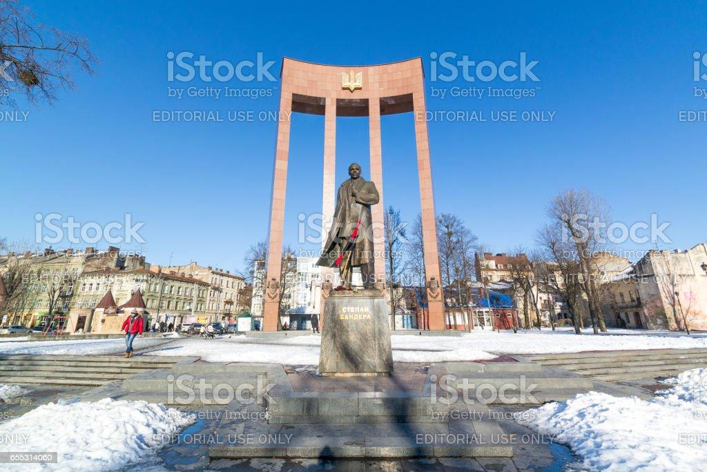 LVIV, UKRAINE - Feb 14, 2017: Monument to the leader of the Ukrainian nationalist and independence movement Stepan Bandera, Lviv, Ukraine stock photo