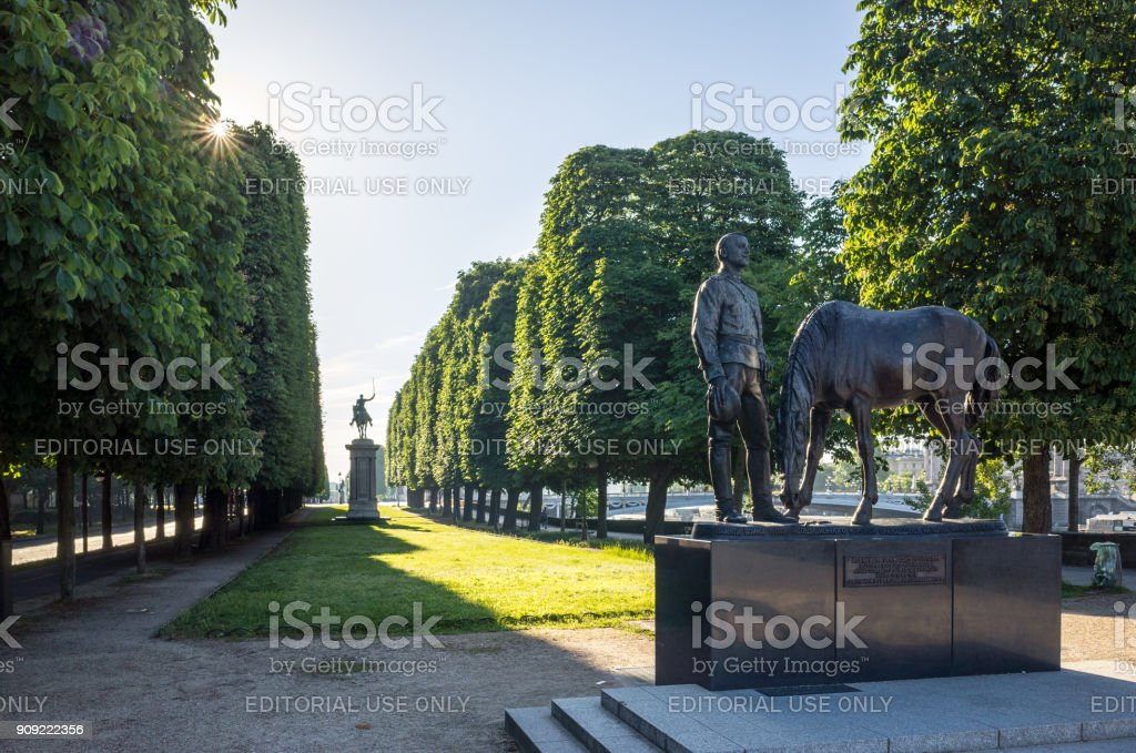 Monument to the memory of the Russian Expeditionary Force engaged in France during the First World War from 1916 to 1918, by russian artist Vladimir Sourovtsev stock photo