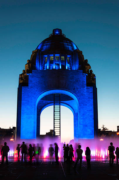 Monument to the Mexican Revolution, at Twilight stock photo