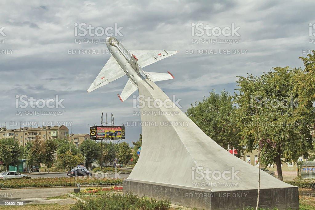 Monument to the MIG-21 in Mozdok stock photo