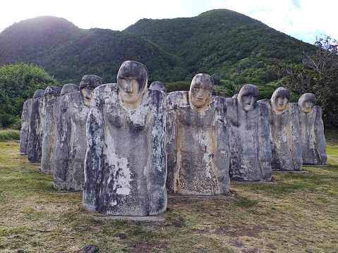 January 2021, Martinique, FWI: Monument to the shipwrecked slaves of l'anse caffard, French West Indies Caribbean. Commemorative sculpted white statues on the island of Martinique.