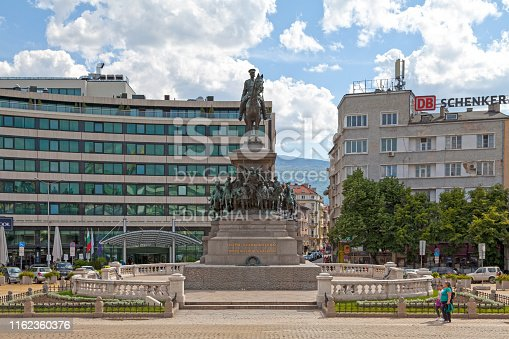 Sofia, Bulgaria - May 18 2019: The Monument to the Tsar Liberator (Bulgarian: Паметник на Цар Освободител, Pametnik na Tsar Osvoboditel) is an equestrian monument created by  Arnoldo Zocchi in 1903 in honour of Russian Emperor Alexander II who liberated Bulgaria from Ottoman rule during the Russo-Turkish War of 1877-78.