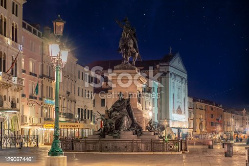 istock Monument to Vittorio Emanuele II of Venice in the evening with no one in the streets due to covid-19 1290674461