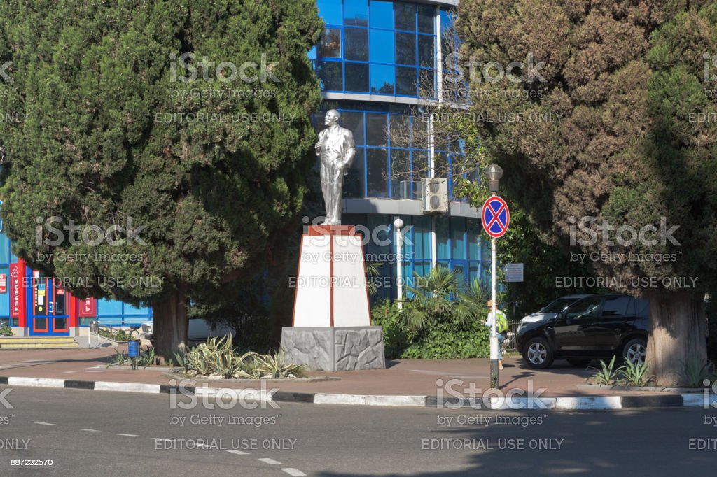Monument to Vladimir Ilyich Lenin at the crossroads of Lenin and Kirov streets in the resort village of Adler, Sochi stock photo