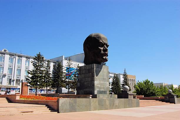Monument to Vladimir Lenin in Ulan-Ude city, Russia stock photo