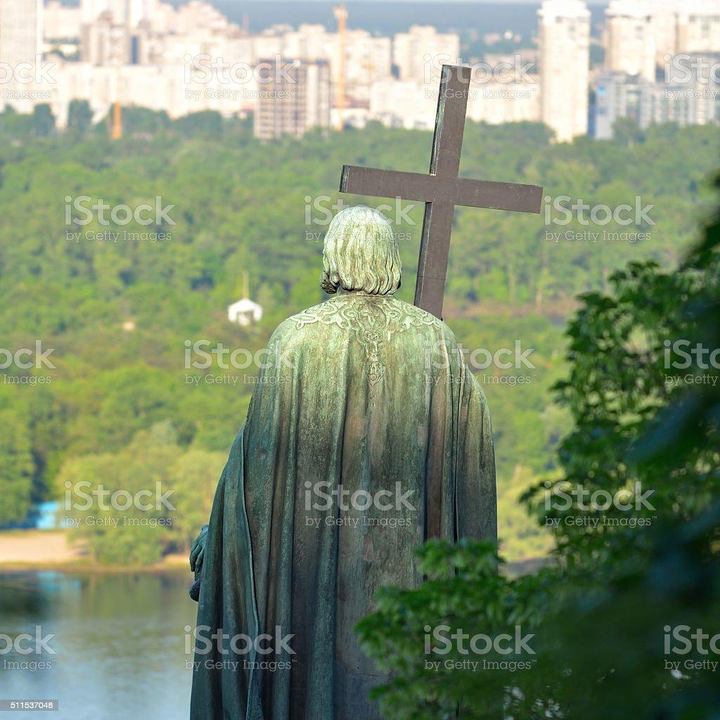 Monument to Vladimir Veliky in Kiev stock photo
