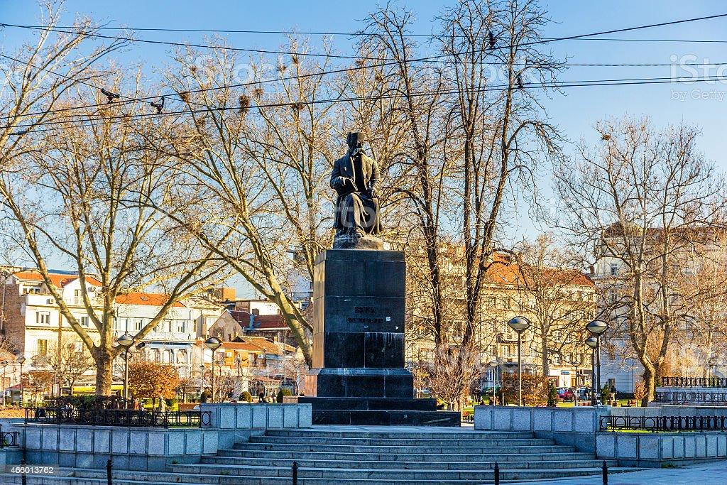 Monument to Vuk Karadzic in Belgrade, Serbia stock photo