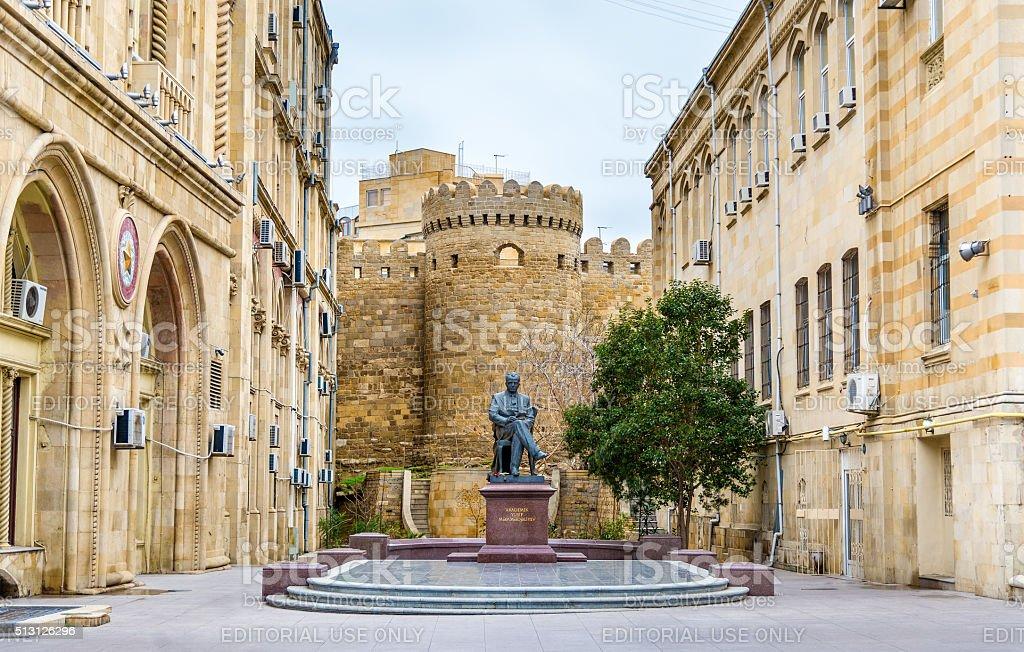 Monument to Yusif Mammadaliyev in Baku stock photo
