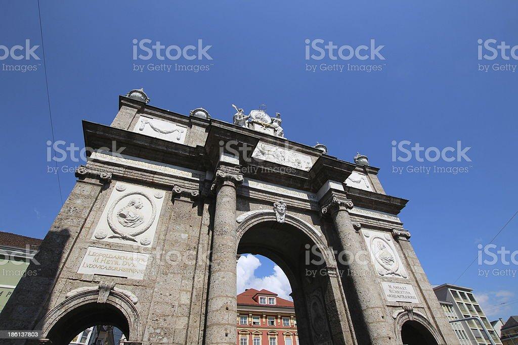 Monument Triumphpforte, Innsbruck, Austria stock photo
