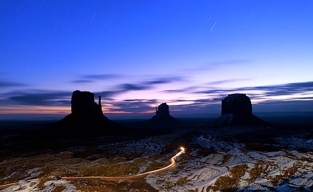 "Monument Valley at dawn ""Monument Valley at dawn, Long exposure, Navajo National Park, Utah, USA"" navajo sandstone formations stock pictures, royalty-free photos & images"